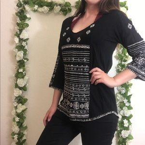 🌿Lucky Brand | Boho Embroidered Blouse 3/4 Sleeve